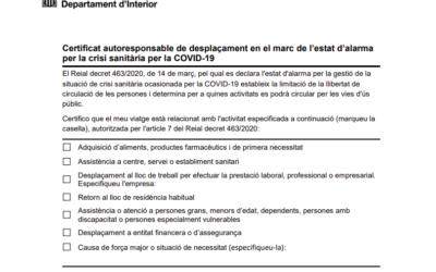 Certificat autoresponsable de desplaçament COVID-19