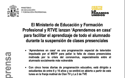 El Ministerio de Educación y Formación Profesional y RTVE lanzan 'Aprendemos en casa'